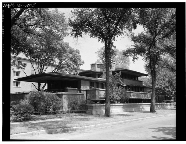 Frederick C Robie House south facade from southwest Designed and built between  and  by architect Frank Lloyd Wright Photo Cervin Robinson