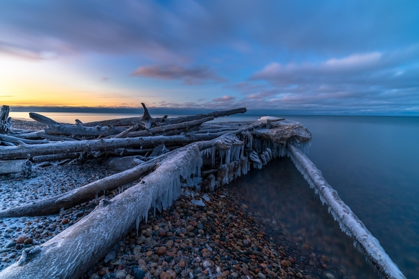 Frigid Sunset at Whitefish Point MI - Jan th