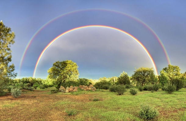 Full Double Rainbow from my Backyard in Redding California