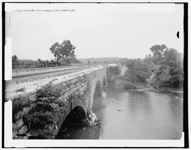 Functioning Chesapeake and Ohio Canal aqueduct crossing Conococheague Creek at Williamsport Maryland