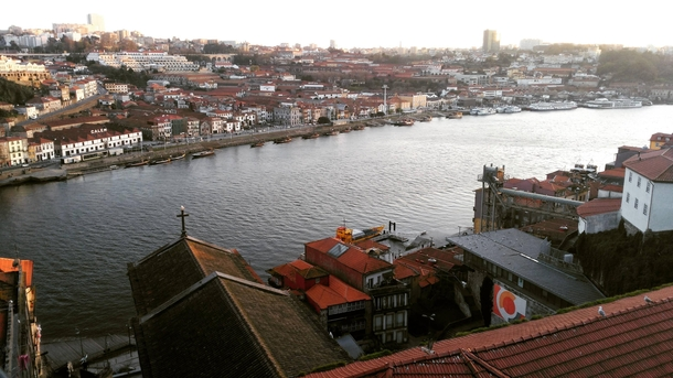 Gaia and Oporto separeted by Douro River Portugal