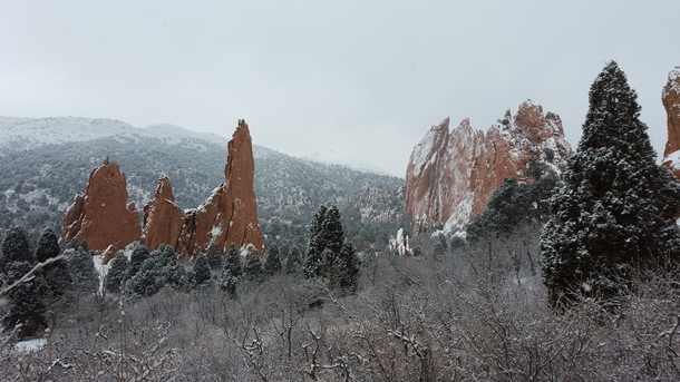 Garden of the Gods after a fresh layer of snow Colorado Springs CO