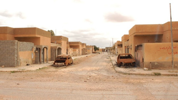 Ghost town of where  black Africans were cleansed by US backed rebels after taking power with US military aid and air strikes Tawergha Libya