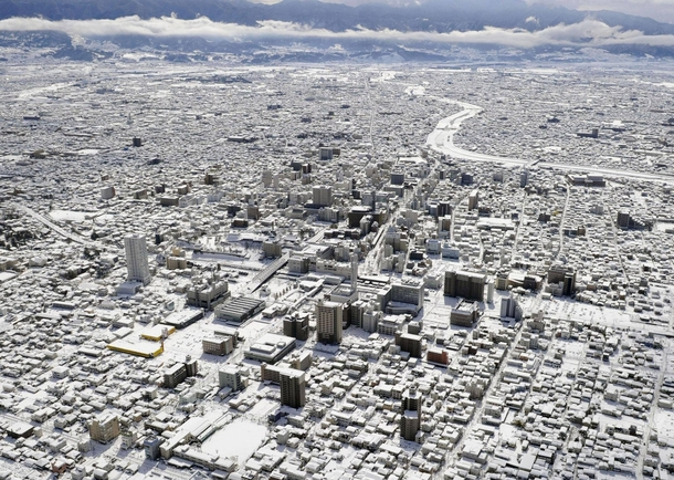 Gifu Japan after record snow falls this week-end