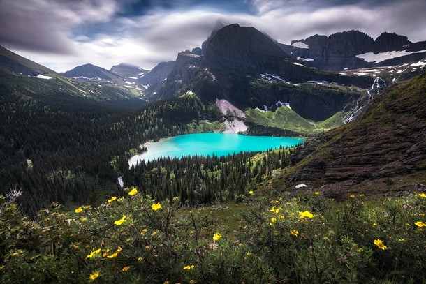 Glacial colored lake in the Summer at Grinnell Lake Glacier National Park