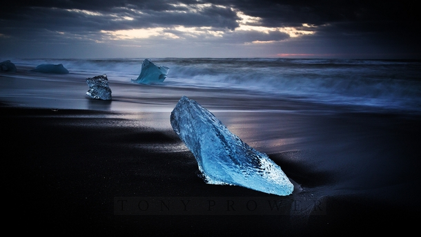 Glacier Chunks in Iceland by Tony Prower