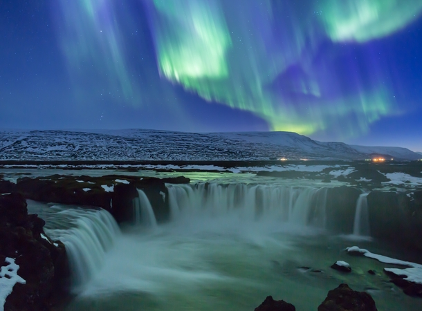Got one clear night on a recent trip to Iceland where the aurora danced for  hours straight Here it is seen over Goafoss in Northern Iceland