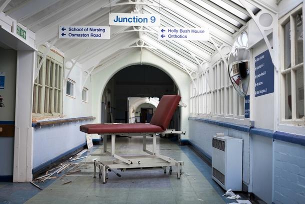 Gurney in the main corridor of an abandoned hospital UK