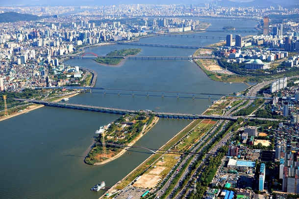 Han River seen from a helicopter Seoul South Korea