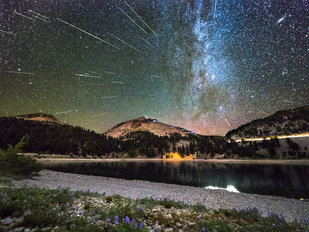 Happy New Years Eve Heres some celestial fireworks a composite of  meteors over Lassen Peak in Northern California