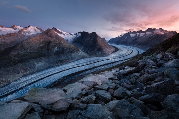 Hiked up to the largest glacier in Europe for sunrise - the Great Aletsch covers km with an unbelievable  BILLION tons of ice and snow