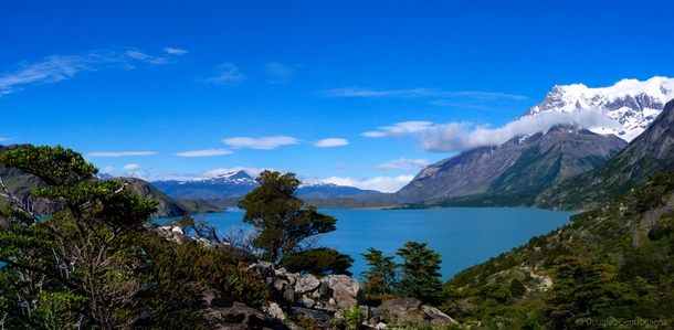 Hiking in the morning Torres del Paine Chile Patagonia