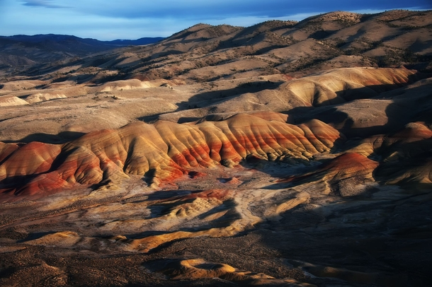 Hills painted by volcanic eruptions  million years ago in Mitchell Oregon