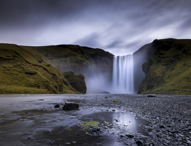 I visited Skgafoss during a rainy sunrise a few days ago It was incredible to see with pretty much no other people around the waterfall Skgar Iceland