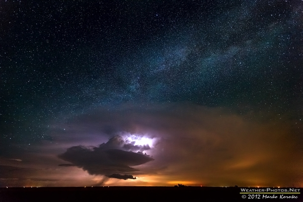 I was chasing eastern New Mexico and western Texas on June th  This very photogenic supercell developed near the state border and as I decided to stay a bit more distant the shining Milky Way above it made the scene simply stunning writes photographer Mar