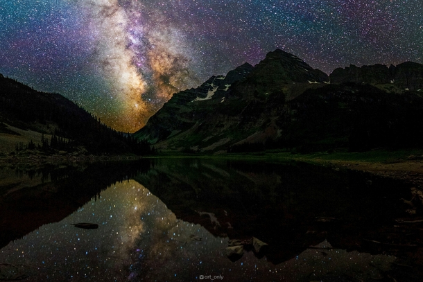 I went on a midnight hike to Crater Lake in Colorados Maroon Bells Wilderness and it was incredible