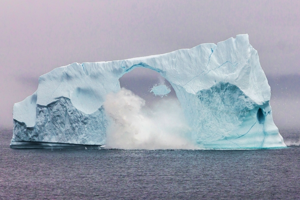 Iceberg breaking up in realtime this morning Cape Spear Newfoundland Taken by my bro-in-law William Follett