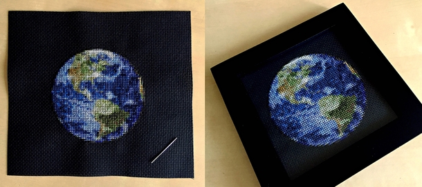 Im cross-stitching the solar system and just finished Earth