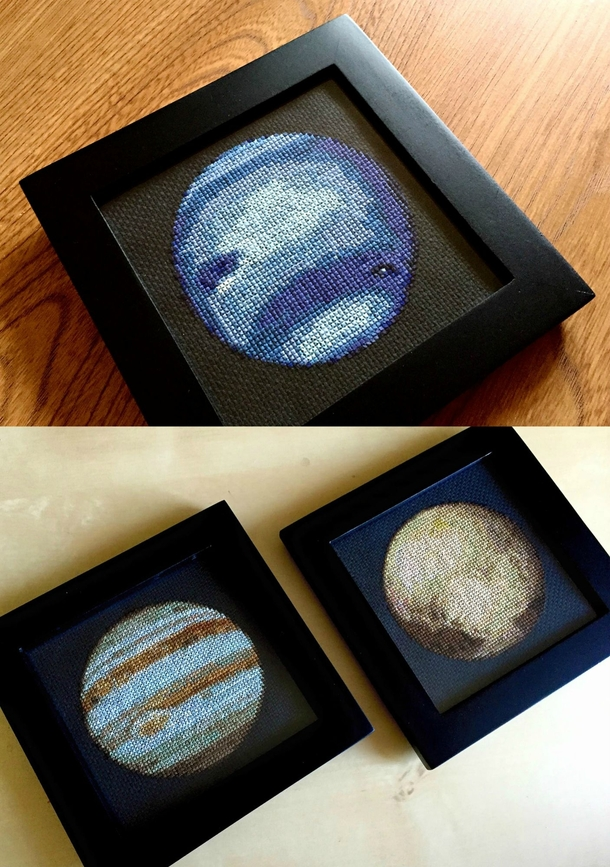 Im cross-stitching the solar system Ive finished Neptune Jupiter and Pluto