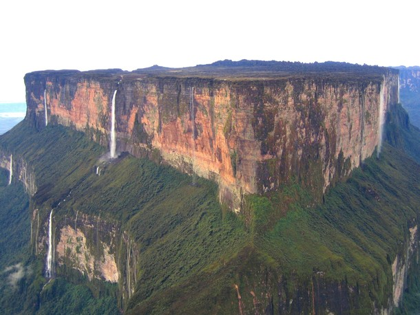 Im pretty sure this is the inspiration for Paradise Falls in Up Mt Roraima Venezuela