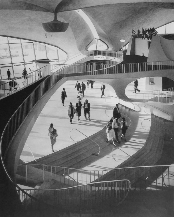 Im surprised I havent seen this here yet The gorgeous interior of the TWA Flight Center at JFK Airport designed by Eero Saarinen