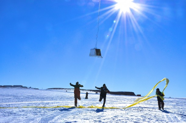 In Antarctica in January scientists released  balloons into the air as part of a NASA-funded mission called BARREL Each balloon launched by the BARREL team floated for anywhere from three to  days measuring X-rays produced by fast-moving electrons high up