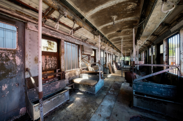 interior picture of coney island subway car that was found abandoned in a grassy field in. Black Bedroom Furniture Sets. Home Design Ideas