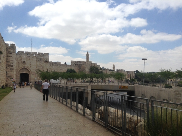 Jerusalem  year old gates to the treasured Old City on the lefthighway underpass on the right
