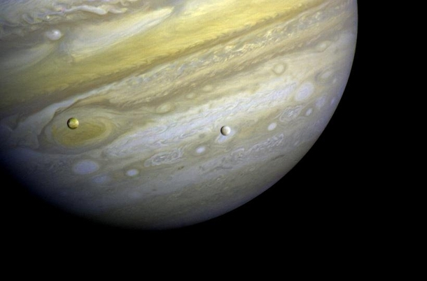 Jupiter with Io and Europa  Picture taken by Voyager  on Feb