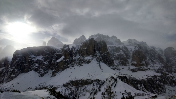 Just got home from a skiing trip in the Dolomites Italy This is a picture of the famous Sella mountain x