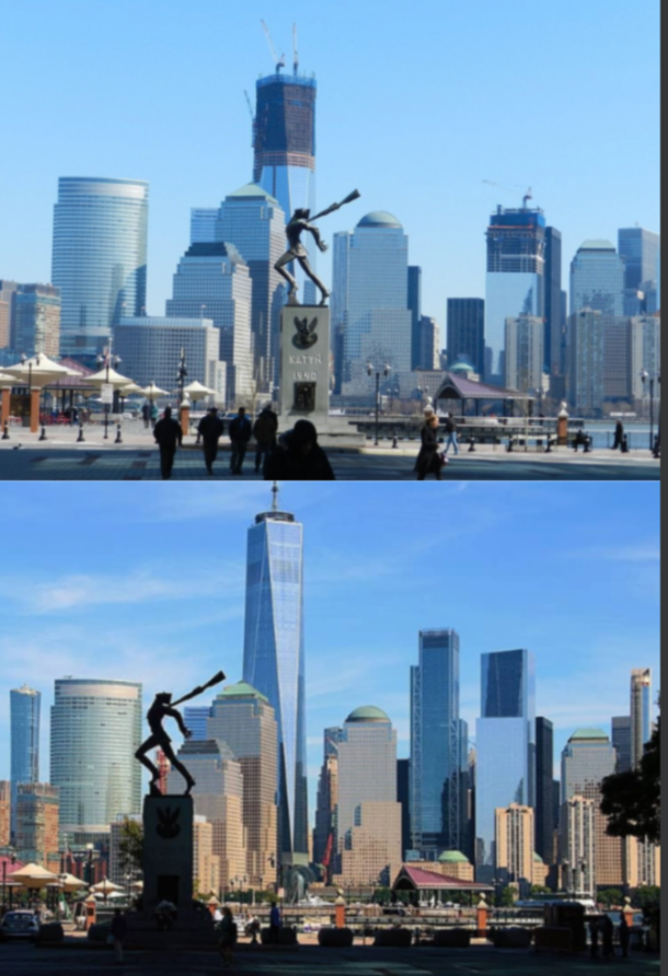 Katyn Memorial with NYC in the Background  years apart