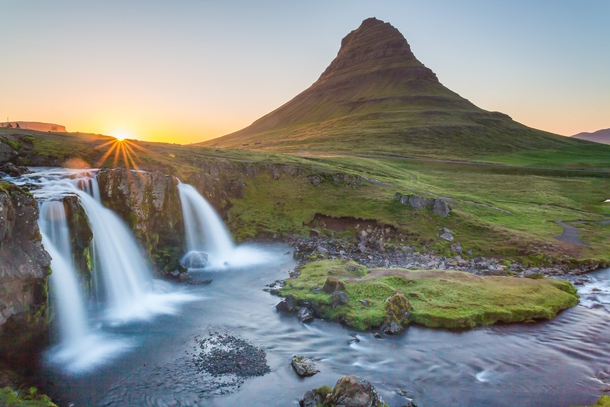 Kirkjufell just after midnight West Iceland