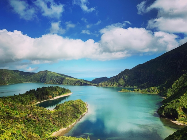 Lagoa do Fogo Sao Miguel Island in the Azores Portugal