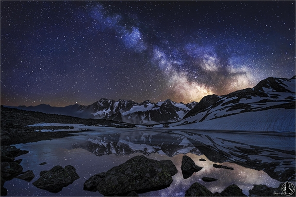 Lake Rinnensee At Night With Milkyway Stubaital Tyrol