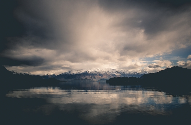 Lake Wanaka in the beautiful South Island of New Zealand just after a night of rain