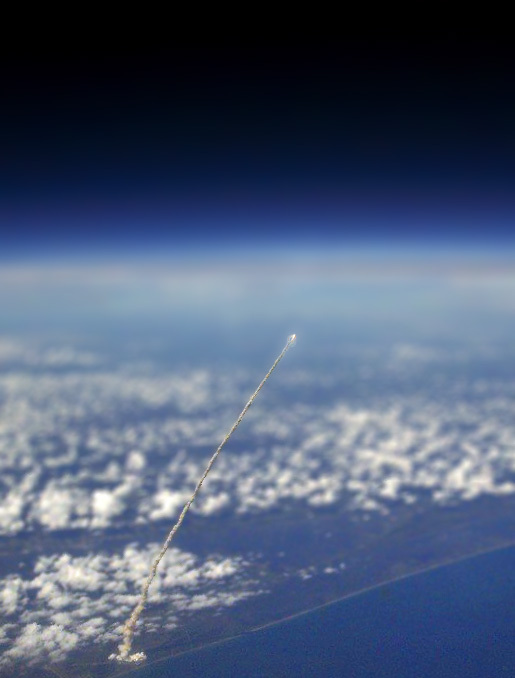 Launch photographed from space tilt-shift photography
