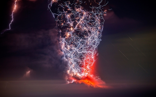 Lightning engulfs a volcanic eruption in Chile  by Francisco Negroni