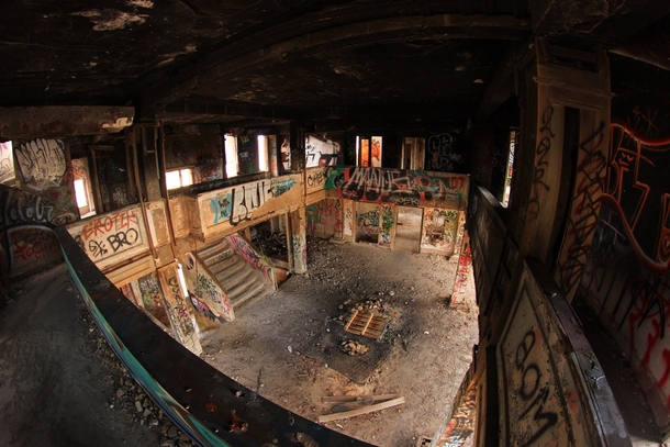 Lobby of an abandoned California hotel from the s