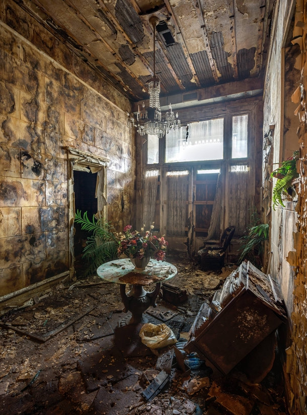 Lobby Of An Abandoned Funeral Home That Still Has Power By