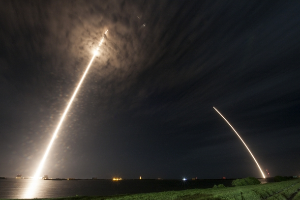 Long exposure SpaceX Falcon  launch and landing