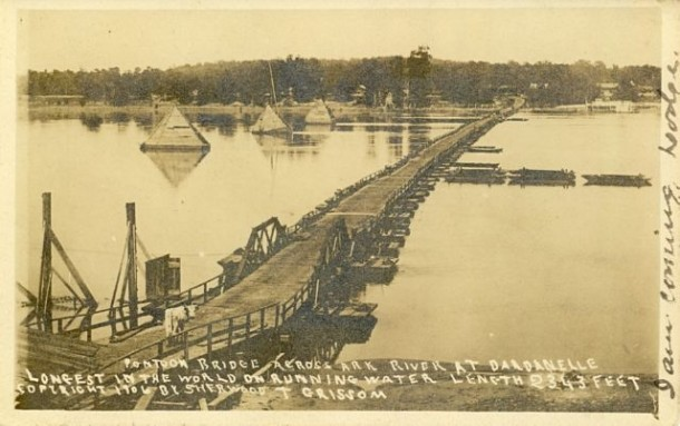 Longest Pontoon Bridge in US history  feet long over the Arkansas River between Dardanelle and Russellville  -