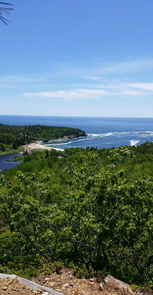 Looking over Sand Beach from Beehive Mountain Acadia National Park Maine