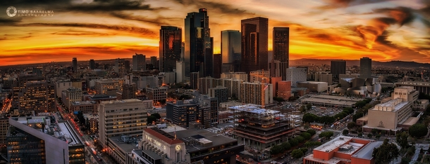 Los Angeles downtown at sunset CA