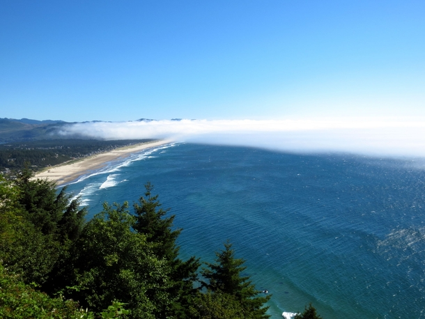 Low-hanging clouds over the Oregon coast