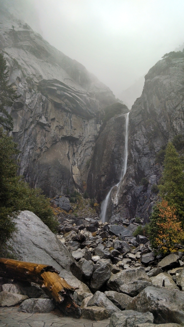 Lower Yosemite falls in the rain