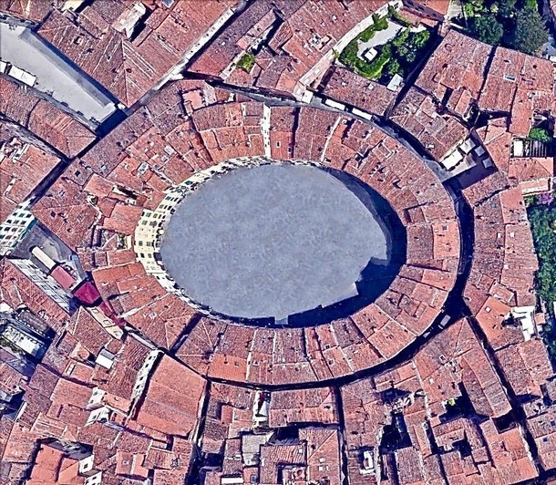 Lucca Italy A square where was the Roman Amphitheater
