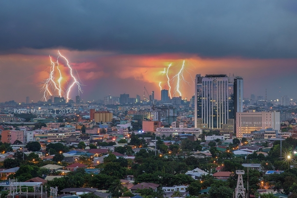 Makati Philippines in a lightning storm  by Edwin Martinez