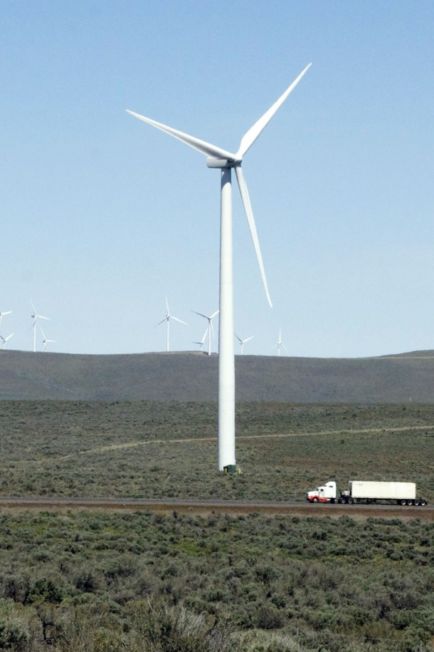 massive wind turbine in central Washington