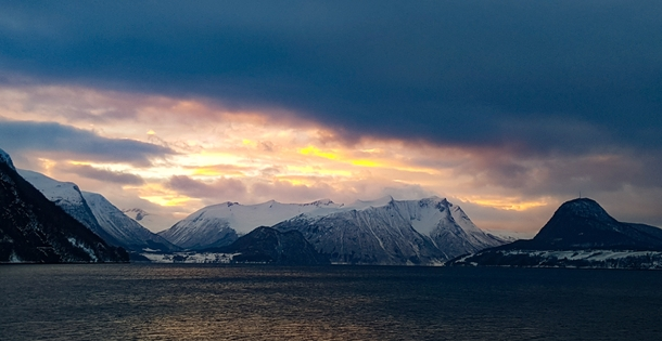 Midwinter sunset in Romsdalsfjorden Norway