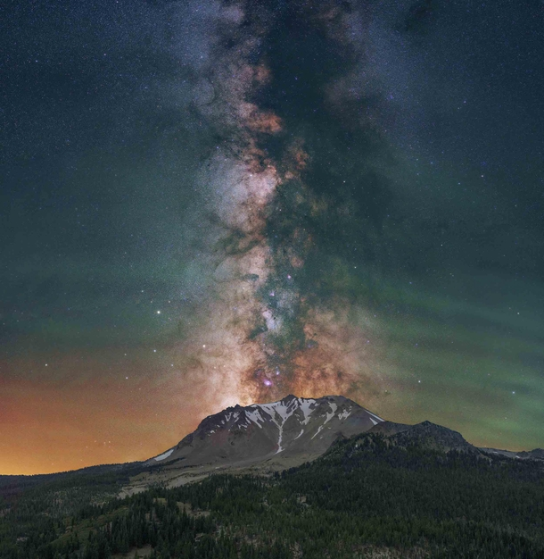 Milky Way Erupting out of an Active Volcano - Northern California USA